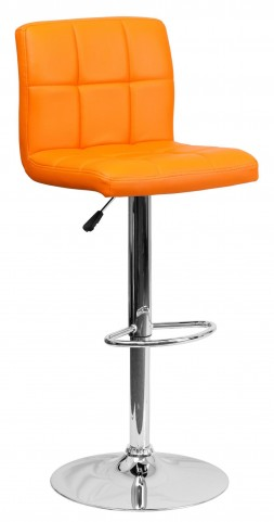 Orange Quilted Adjustable Height Bar Stool