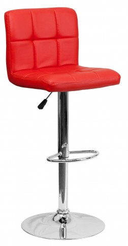 Red Quilted Adjustable Height Bar Stool