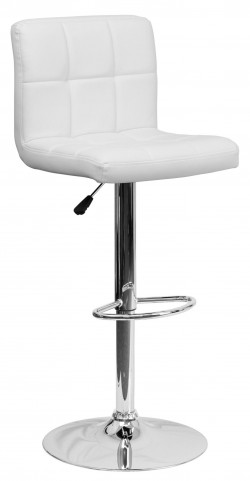 White Quilted Adjustable Height Bar Stool