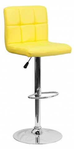 1000798 Yellow Vinyl Adjustable Height Bar Stool