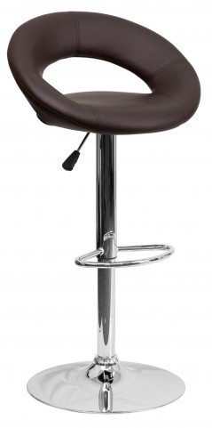 Brown Rounded Back Adjustable Height Bar Stool