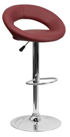 Burgundy Rounded Back Adjustable Height Bar Stool