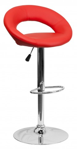 Red Rounded Back Adjustable Height Bar Stool