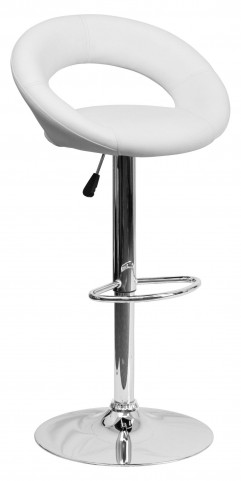 White Rounded Back Adjustable Height Bar Stool