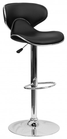 Cozy Black Adjustable Height Bar Stool