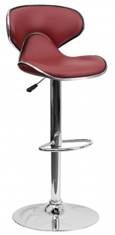 Cozy Burgundy Adjustable Height Bar Stool