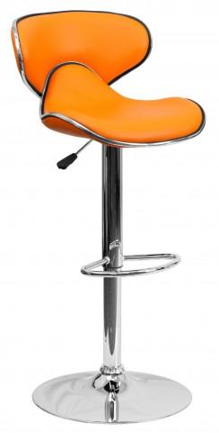 Cozy Orange Adjustable Height Bar Stool