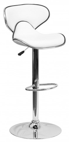 Cozy White Adjustable Height Bar Stool