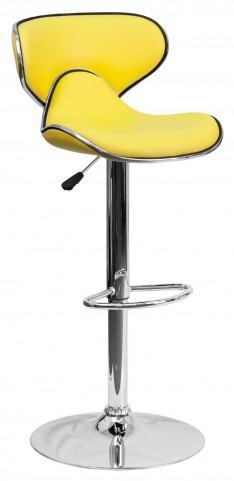Cozy Yellow Adjustable Height Bar Stool