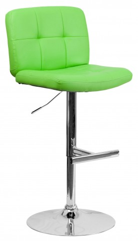 Tufted Green Vinyl Adjustable Height Bar Stool