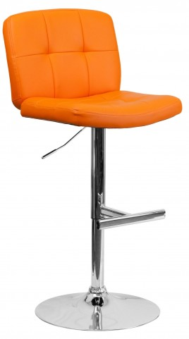 Tufted Orange Vinyl Adjustable Height Bar Stool