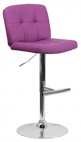 Tufted Purple Vinyl Adjustable Height Bar Stool