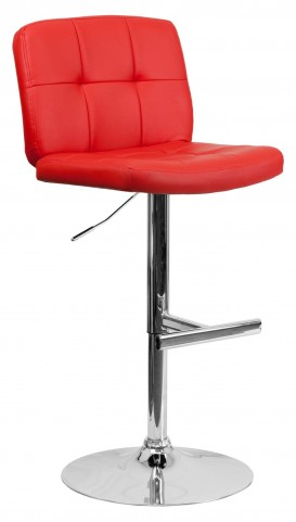 Tufted Red Vinyl Adjustable Height Bar Stool