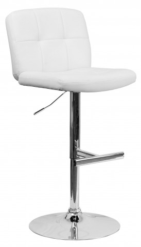 Tufted White Vinyl Adjustable Height Bar Stool