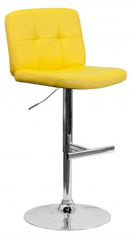 Tufted Yellow Vinyl Adjustable Height Bar Stool