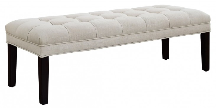 Taupe Upholstered Tufted Bed Bench
