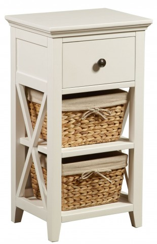 White Linen Basket Bathroom Storage