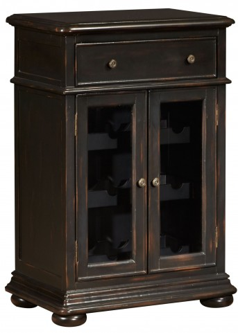 Rubbed Black Double Door Wine Cabinet