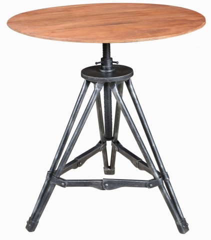 Cherry Metal & Wood Accent Table