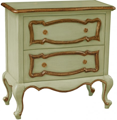 Two Drawers Gold Trim Accent Chest