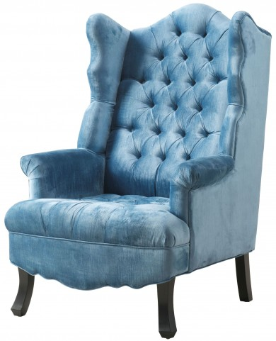 Madison Blue Velvet Wing Chair