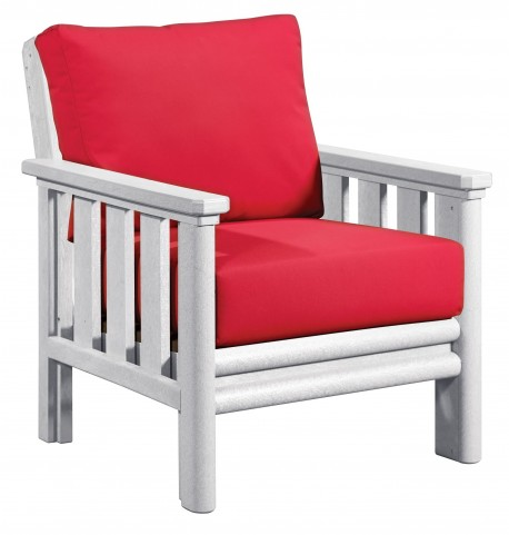 Stratford White Chair With Jockey Red Sunbrella Cushions