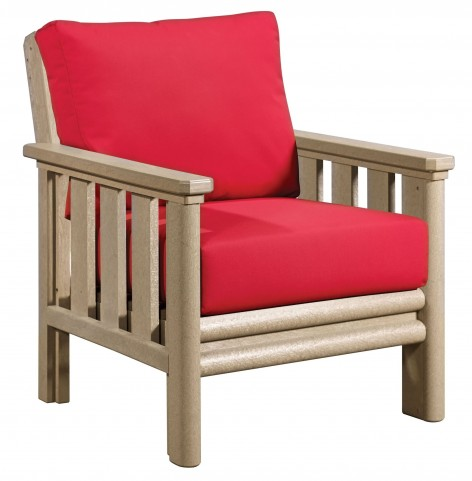 Stratford Beige Chair With Jockey Red Sunbrella Cushions