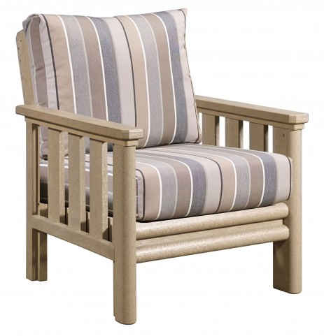 Stratford Beige Chair With Milano Charcoal Sunbrella Cushions