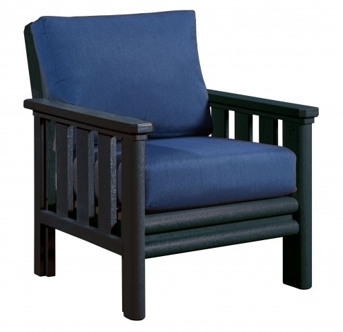 Stratford Black Chair With Indigo Blue Sunbrella Cushions Sunbrella Cushions