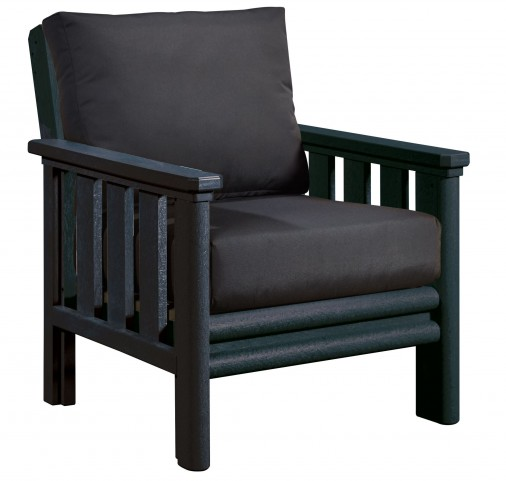 Stratford Black Chair With Black Sunbrella Cushions