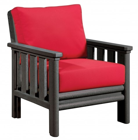 Stratford Slate Gray Chair With Jockey Red Sunbrella Cushions