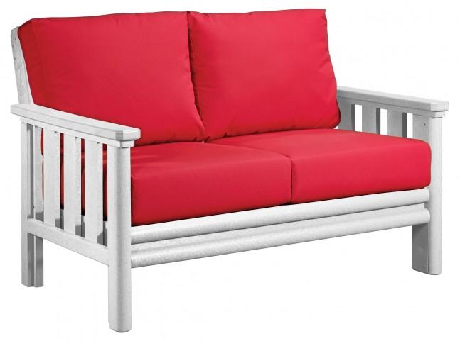 Stratford White Loveseat With Jockey Red Sunbrella Cushions