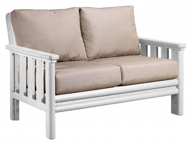 Stratford White Loveseat With Beige Sunbrella Cushions