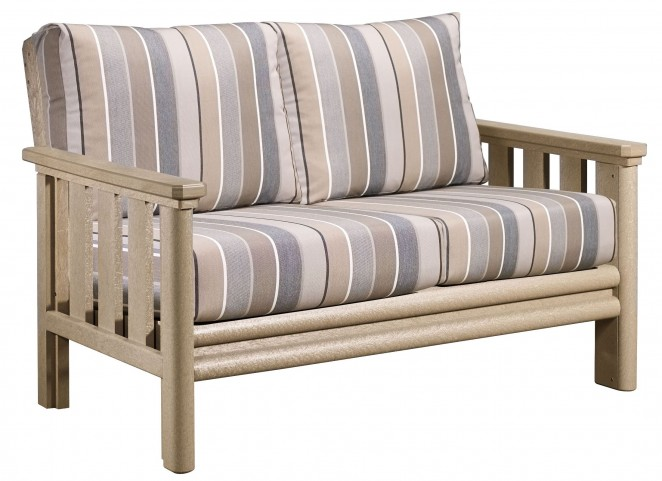 Stratford Beige Loveseat With Milano Charcoal Sunbrella Cushions
