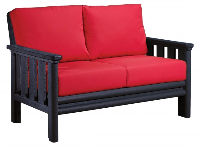 Stratford Black Loveseat With Jockey Red Sunbrella Cushions Sunbrella Cushions
