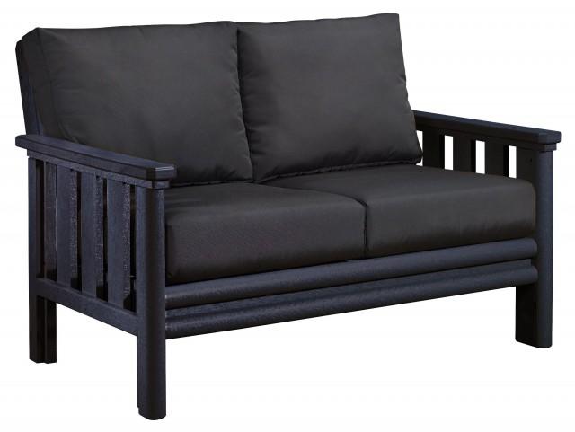 Stratford Black Loveseat With Black Sunbrella Cushions
