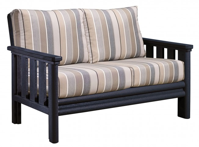 Stratford Black Loveseat With Milano Charcoal Sunbrella Cushions