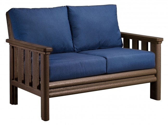 Stratford Chocolate Loveseat With Indigo Blue Sunbrella Cushions