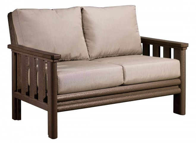 Stratford Chocolate Loveseat With Beige Sunbrella Cushions