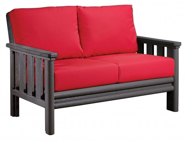 Stratford Slate Gray Loveseat With Jockey Red Sunbrella Cushions