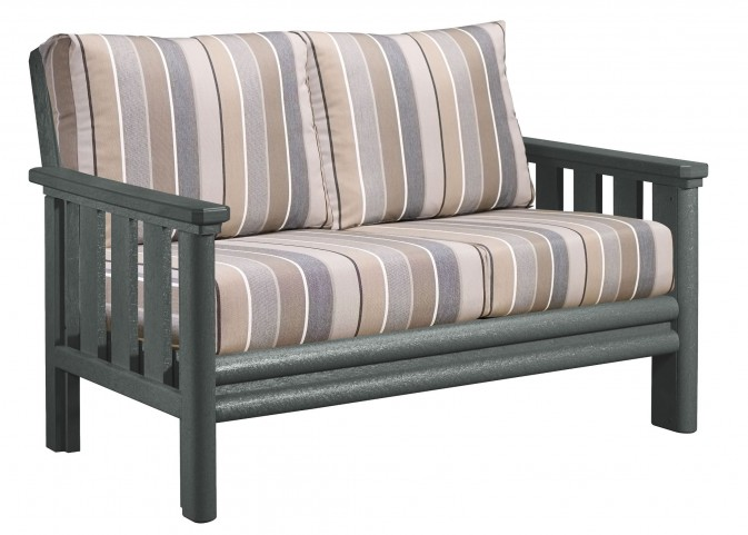 Stratford Slate Gray Loveseat With Milano Charcoal Sunbrella Cushions