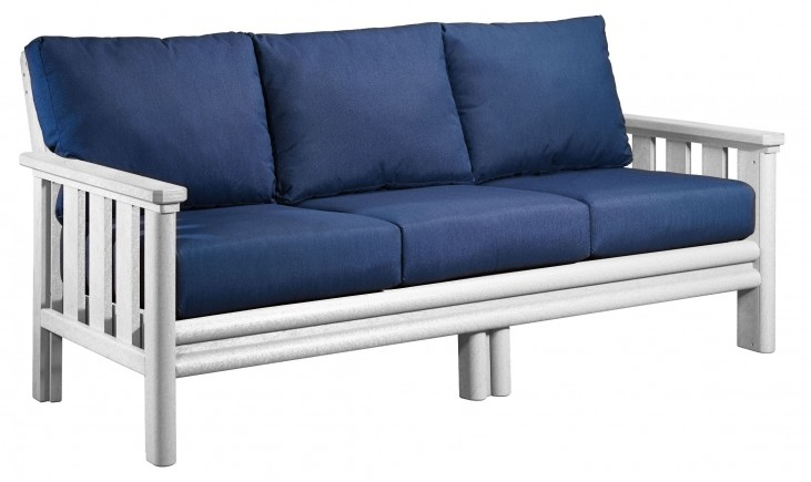 Stratford White Sofa With Indigo Blue Sunbrella Cushions