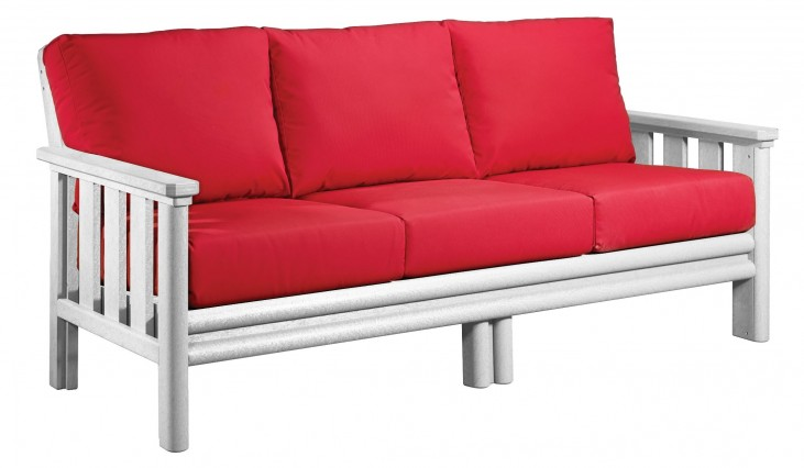 Stratford White Sofa With Jockey Red Sunbrella Cushions