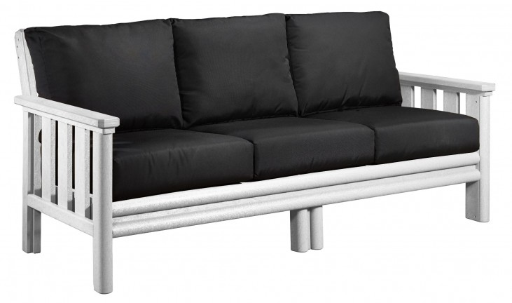 Stratford White Sofa With Black Sunbrella Cushions