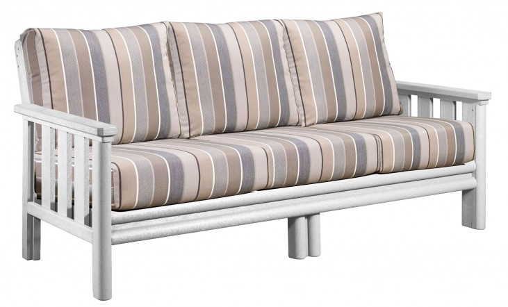 Stratford White Sofa With Milano Charcoal Sunbrella Cushions