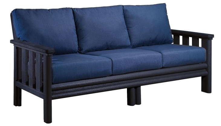 Stratford Black Sofa With Indigo Blue Sunbrella Cushions Sunbrella Cushions