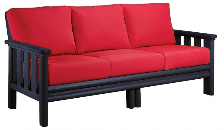 Stratford Black Sofa With Jockey Red Sunbrella Cushions Sunbrella Cushions