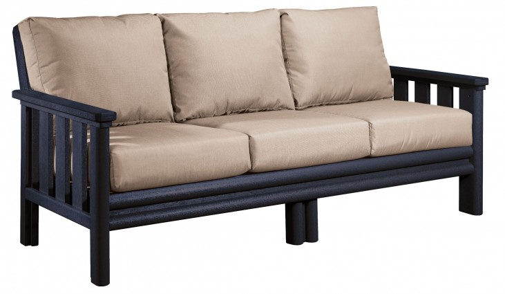 Stratford Black Sofa With Beige Sunbrella Cushions