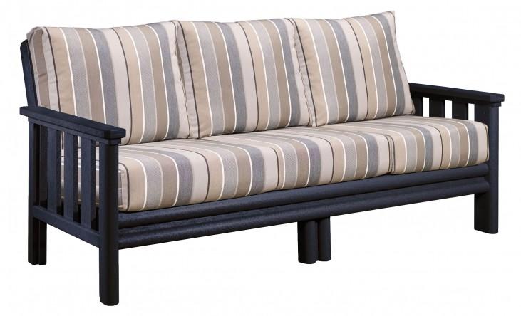 Stratford Black Sofa With Milano Charcoal Sunbrella Cushions