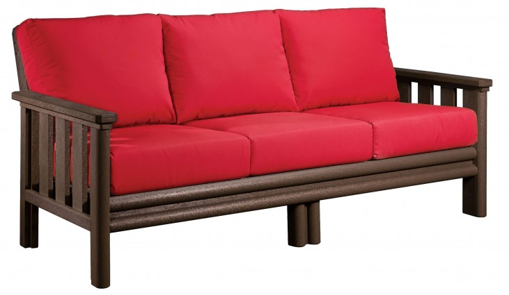 Stratford Chocolate Sofa With Jockey Red Sunbrella Cushions